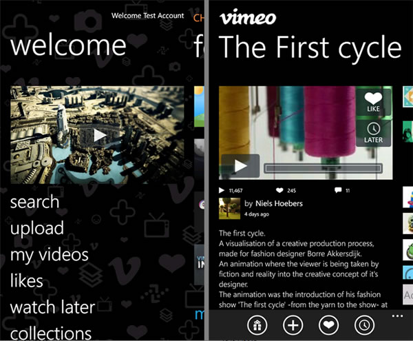 Vimeo ya se encuentra disponible para Windows Phone