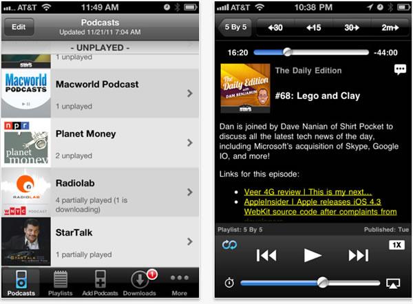 Accede a los podcasts más populares con DownCast para iPhone y para el iPad